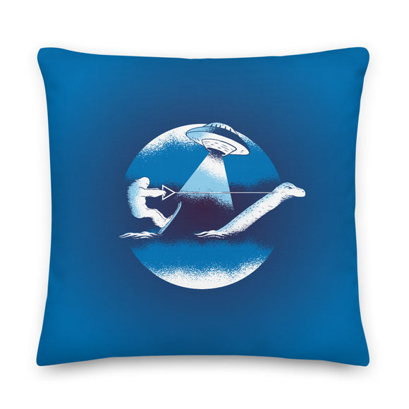 Bigfoot UFO Loch Ness Monster Throw Pillow Case + Optional Pillow