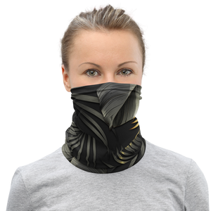 Black and Gold Tropical Leaves Neck Gaiter