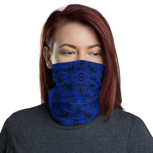 Blue and Black Grunge Pattern Neck Gaiter