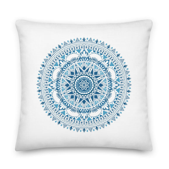 Blue and White Mandala Throw Pillow Case + Optional Pillow