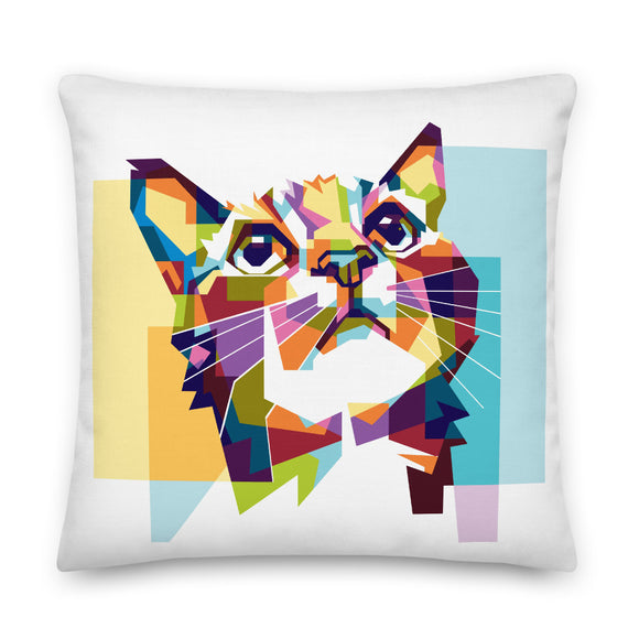 Cat Mosaic Throw Pillow Case + Optional Pillow