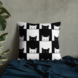 Black and White Peeking Cats Pattern Throw Pillow Case + Optional Pillow