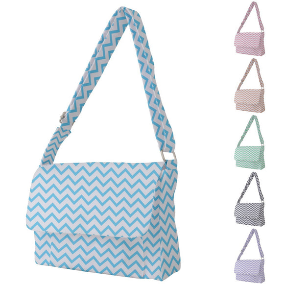 Chevron Pattern White Messenger Bag - Various Colors