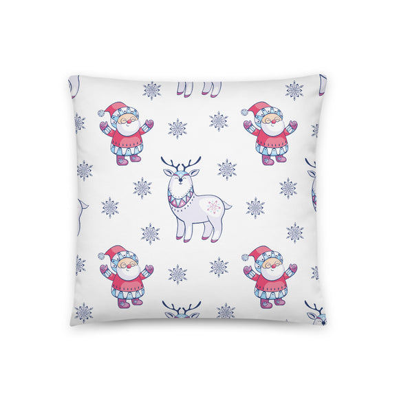 Santa and Reindeer Nordic Pattern Throw Pillow Case + Optional Pillow