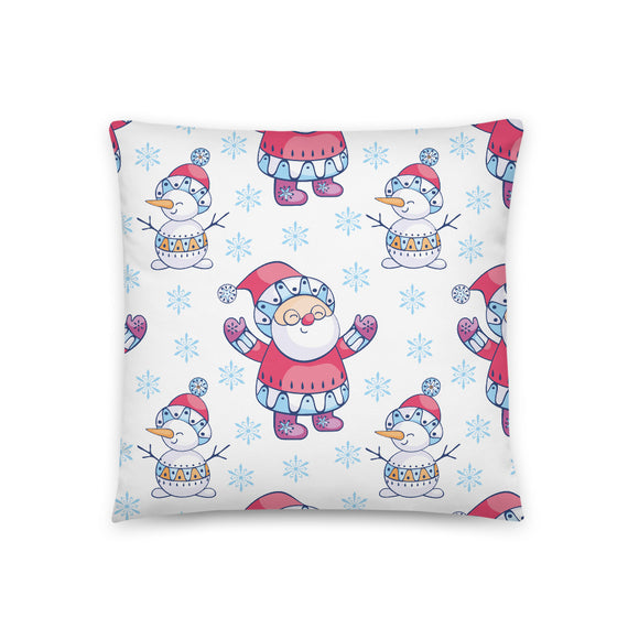 Santa and Snowmen Nordic Pattern Throw Pillow Case + Optional Pillow
