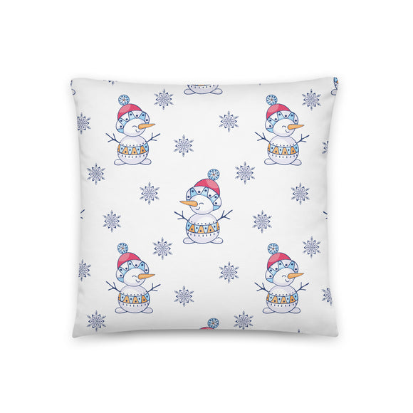 Snowman Pattern Throw Pillow Case + Optional Pillow