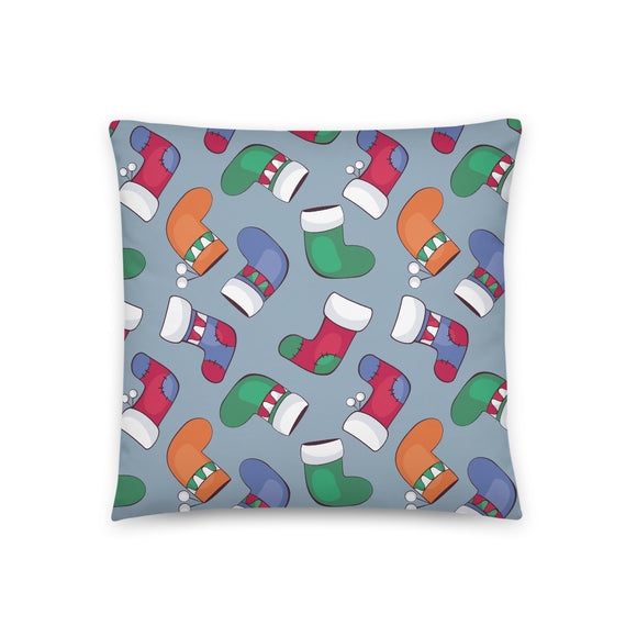 Stocking Pattern Christmas Throw Pillow Case + Optional Pillow