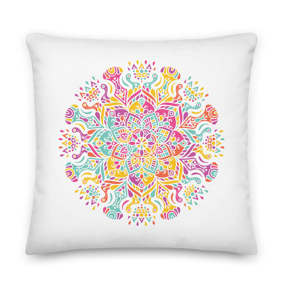 Colorful Mandala Throw Pillow Case + Optional Pillow