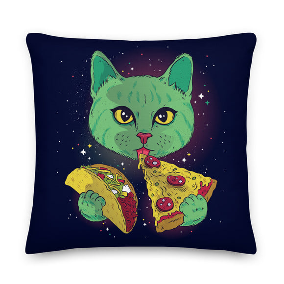 Cosmic Munchie Cat Throw Pillow Case + Optional Pillow