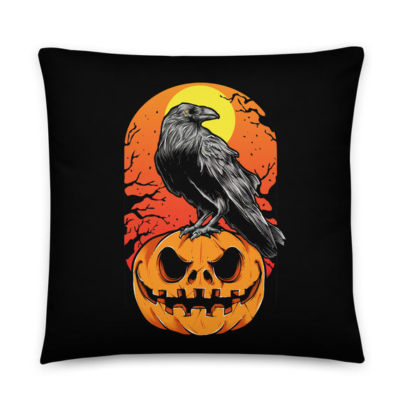 Crow on Jack O' Lantern Halloween Throw Pillow Case + Optional Pillow