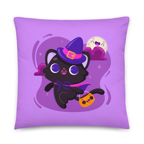 Black Cat Trick or Treat Halloween Throw Pillow Case + Optional Pillow