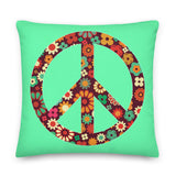 Floral Peace Sign Green Throw Pillow Case + Optional Pillow