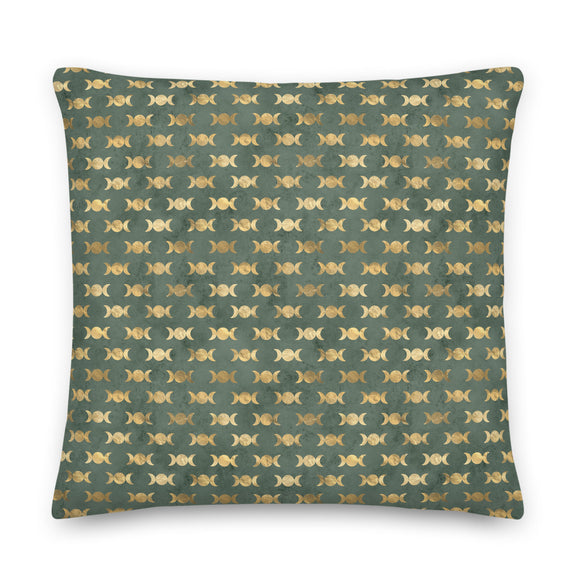 Gold and Green Triple Moon Pattern Throw Pillow Case + Optional Pillow