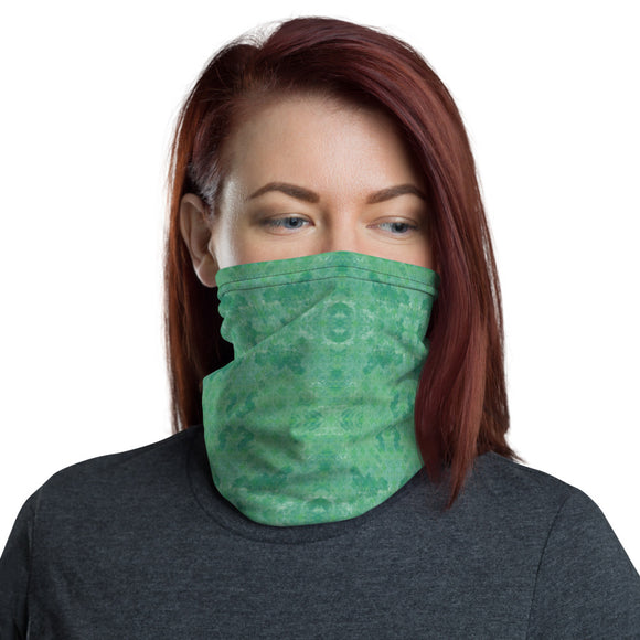 Green Grunge Pattern Neck Gaiter