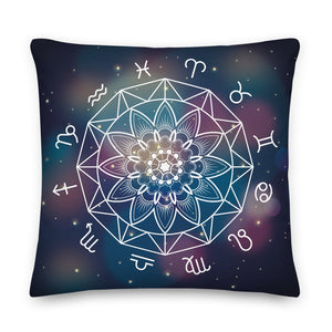 Zodiac Mandala Throw Pillow Case + Optional Pillow