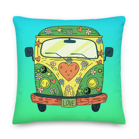 Hippie Van Throw Pillow Case + Optional Pillow