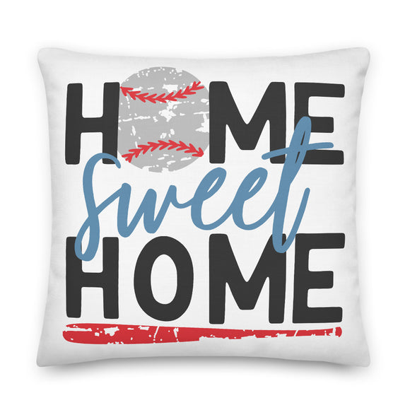 Home Sweet Home Baseball Square Throw Pillow Case + Optional Pillow