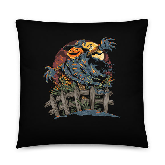 Jack O' Lantern Scarecrow Halloween Throw Pillow Case + Optional Pillow