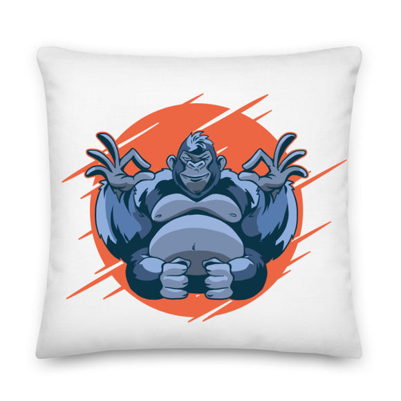 Meditating Gorilla Throw Pillow Case + Optional Pillow
