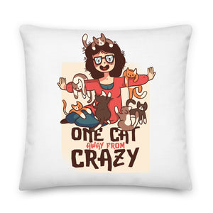 One Cat Away From Crazy Throw Pillow Case + Optional Pillow