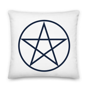 Black Pentacle White Throw Pillow Case + Optional Pillow