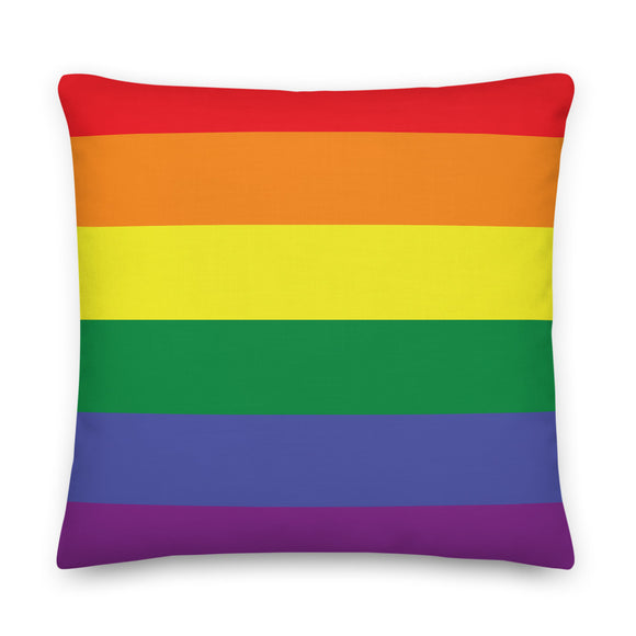 Rainbow Striped Throw Pillow Case + Optional Pillow