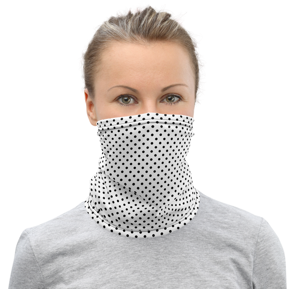 Black Polka Dots White Neck Gaiter