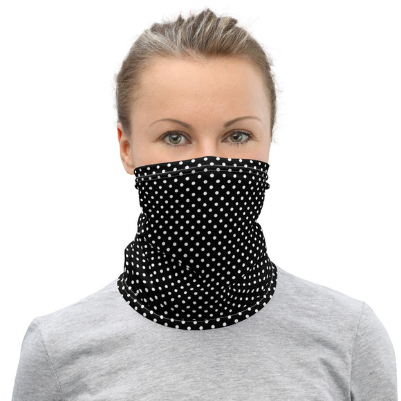 White Polka Dots Black Neck Gaiter