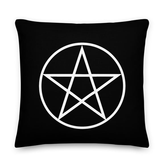 White Pentacle Black Throw Pillow Case + Optional Pillow