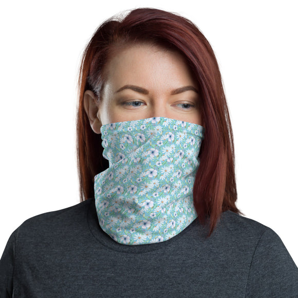 White and Blue Floral Neck Gaiter
