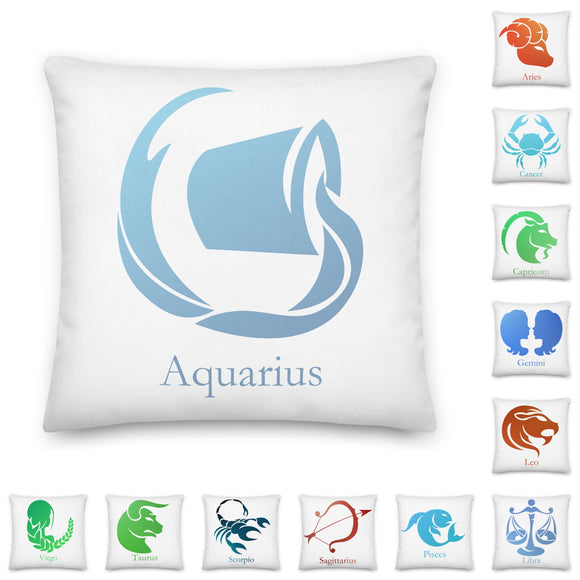 Zodiac Sun Sign Throw Pillow Case + Optional Pillow