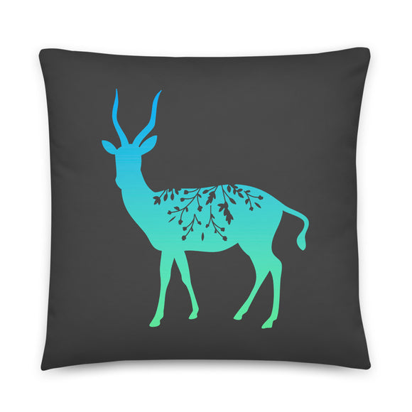 Antelope Ombre Graphic Gray Square Throw Pillow