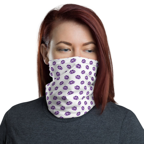 Purple and Black Plaid Lips Pattern Neck Gaiter