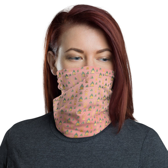 Green and Gold Geometric Pattern Pink Neck Gaiter
