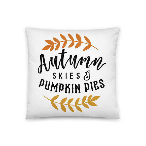 Autumn Skies and Pumpkin Pies Throw Pillow Case + Optional Pillow