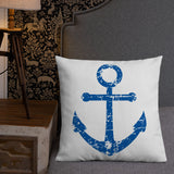 Distressed Anchor Throw Pillow Case + Optional Pillow