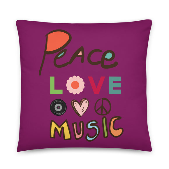 Peace Love Music Throw Pillow Case + Optional Pillow