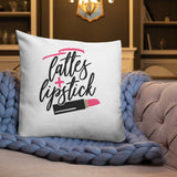 Lattes and Lipstick Throw Pillow Case + Optional Pillow