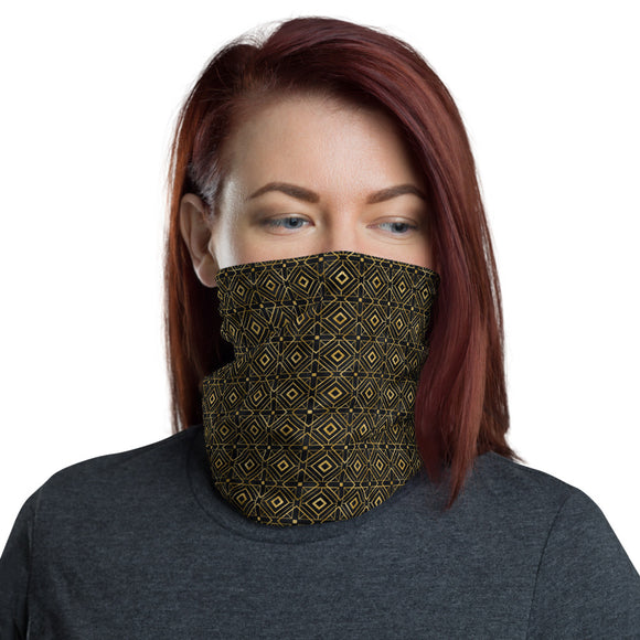 Black and Gold Geometric Diamond Pattern Neck Gaiter