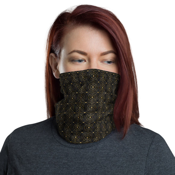 Black and Gold Geometric Circular Pattern Neck Gaiter