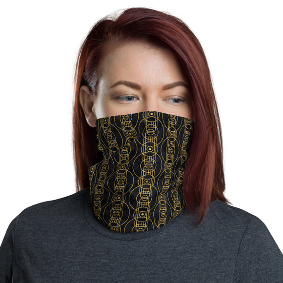 Black and Gold Geometric Circles and Rectangles Pattern Neck Gaiter