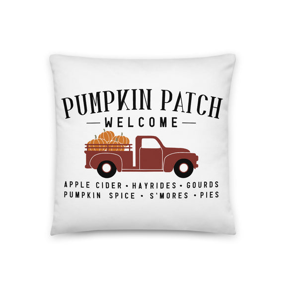 Pumpkin Patch Truck Throw Pillow Case + Optional Pillow