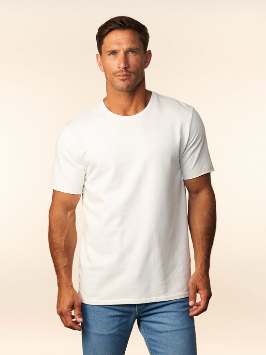 White Micro French Terry Cotton T-Shirt