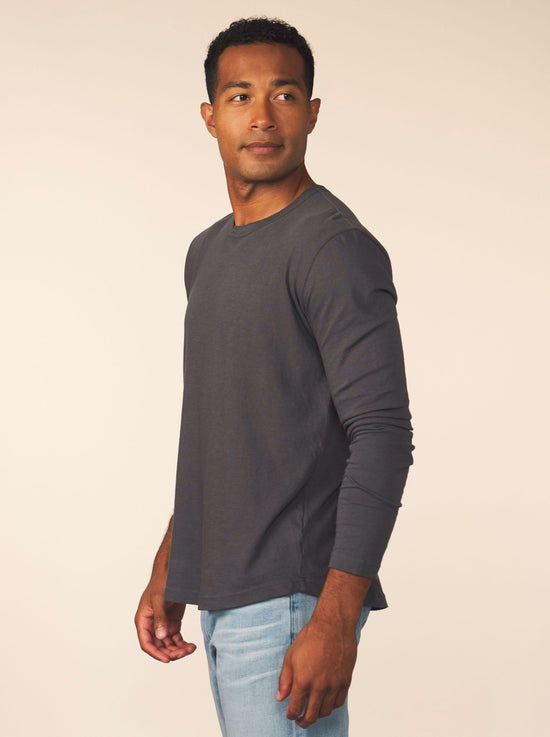 men's cotton cashmere long sleeve - carbon