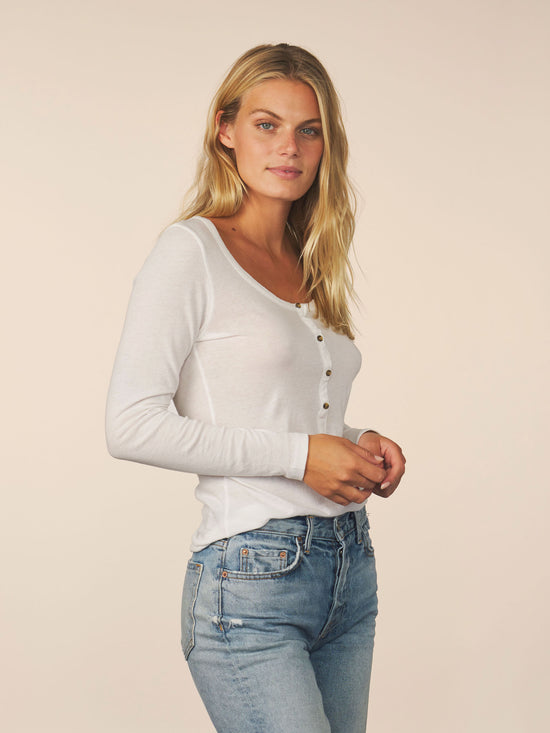 women's cotton cashmere long sleeve henley - white