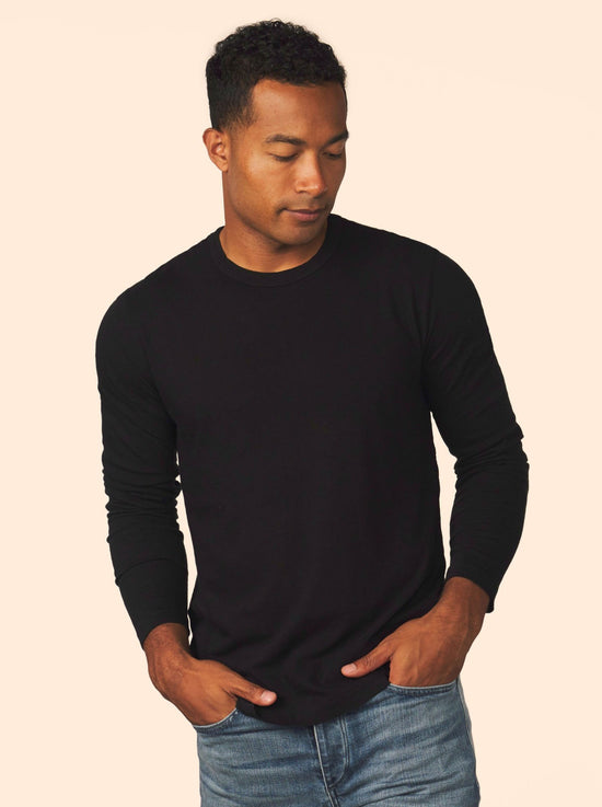 men's cotton cashmere long sleeve - black