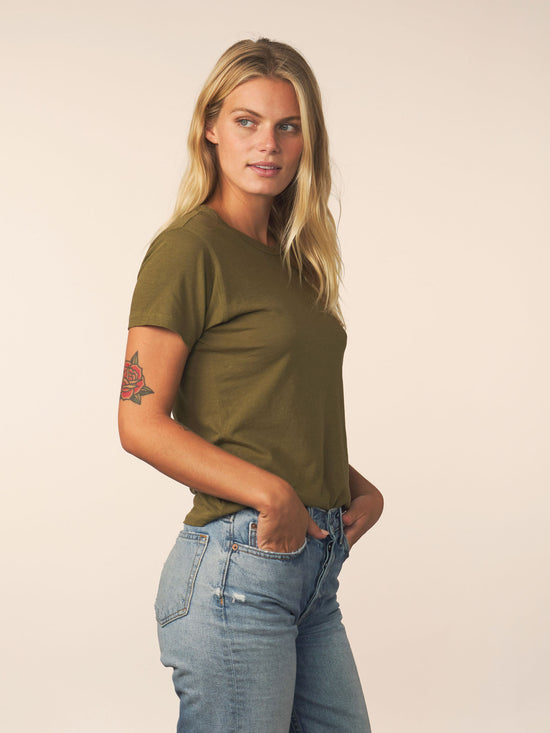 women's cotton cashmere tee - olive