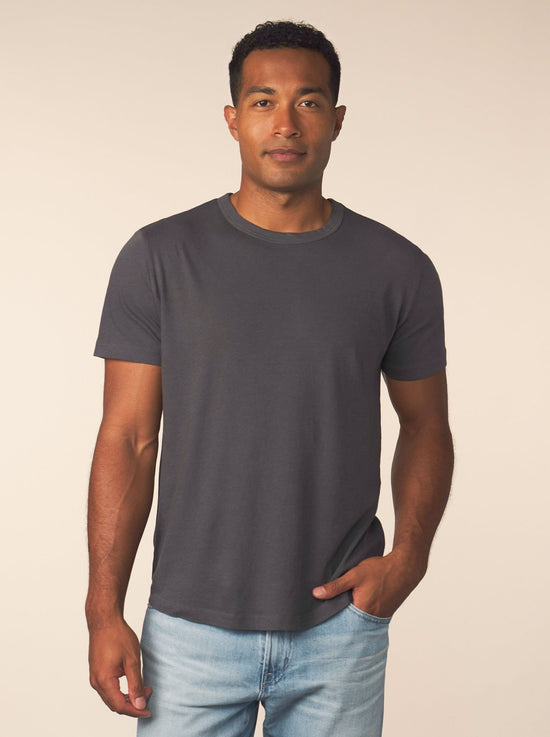men's cotton cashmere tee - carbon