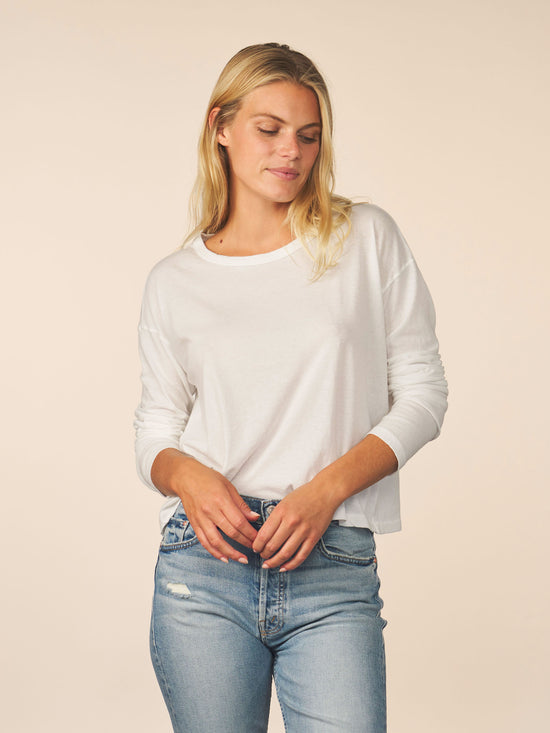 women's cotton cashmere long sleeve - white