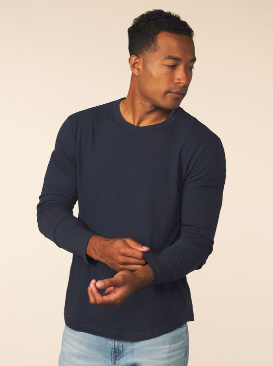 men's cotton cashmere long sleeve - pacific